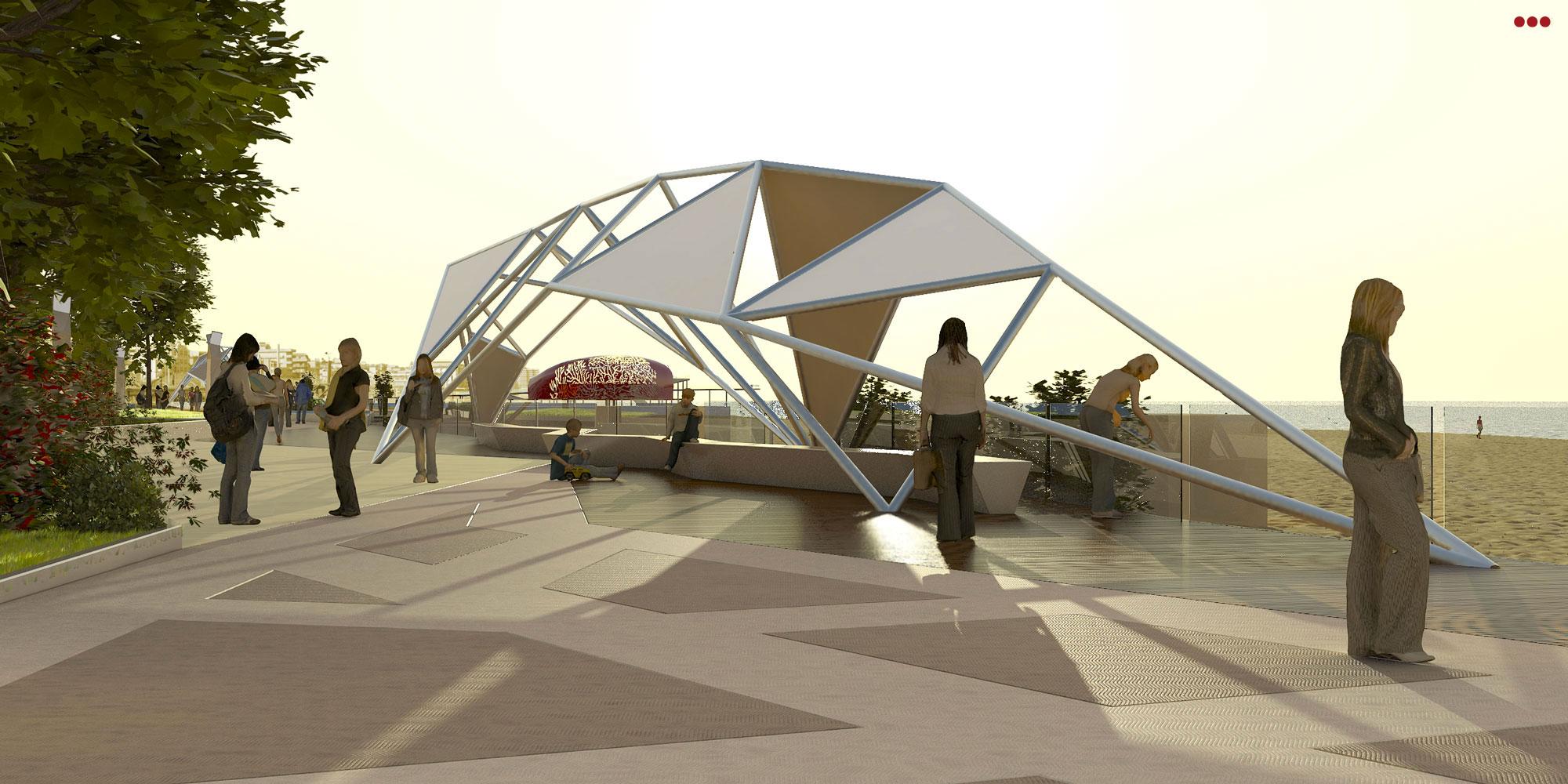 Progetto Rendering Modeling lungomare Cattolica Rimini 3D Studio Bartolini 3.1