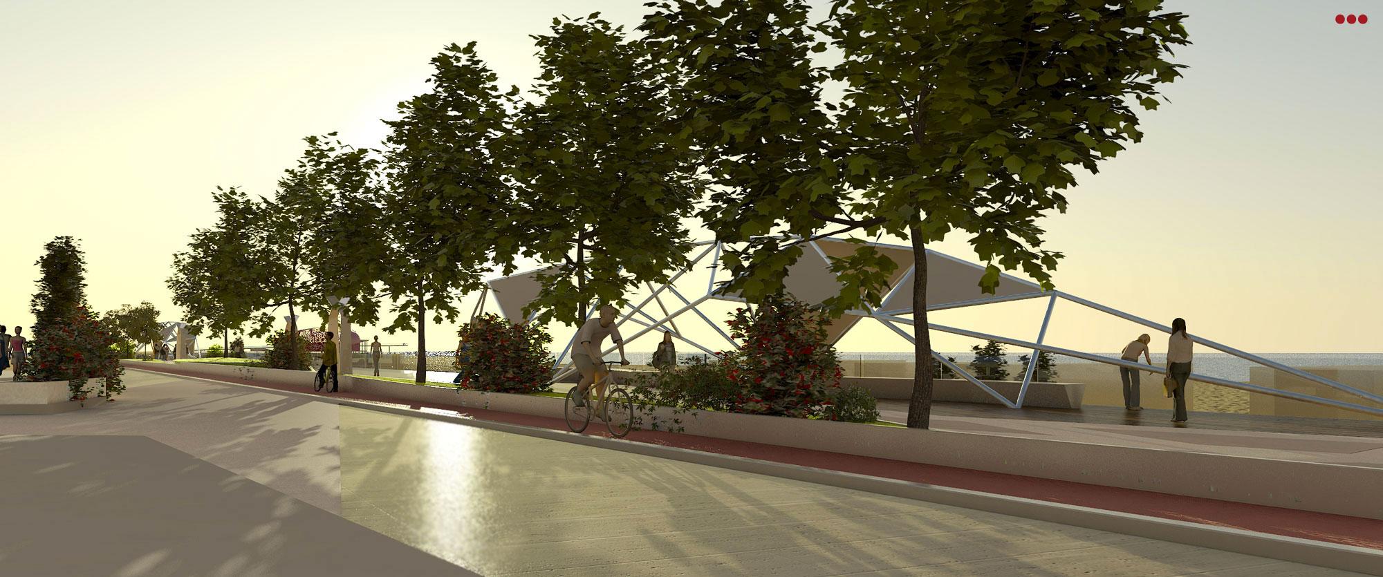 Progetto Rendering Modeling lungomare Cattolica Rimini 3D Studio Bartolini 5.1