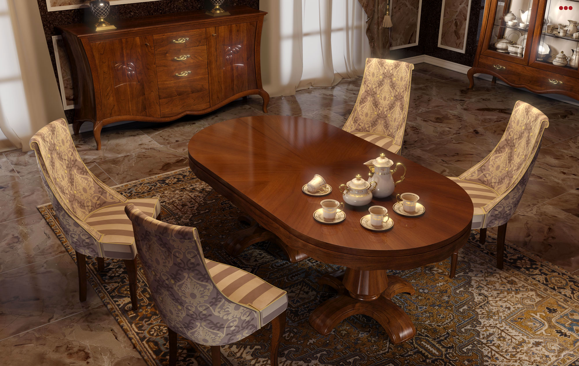 Studio Bartolini rendering grafico 3D catalogo Stilema La Dolce Vita 2012 mobile classico soggiorno c1 tavolo legno