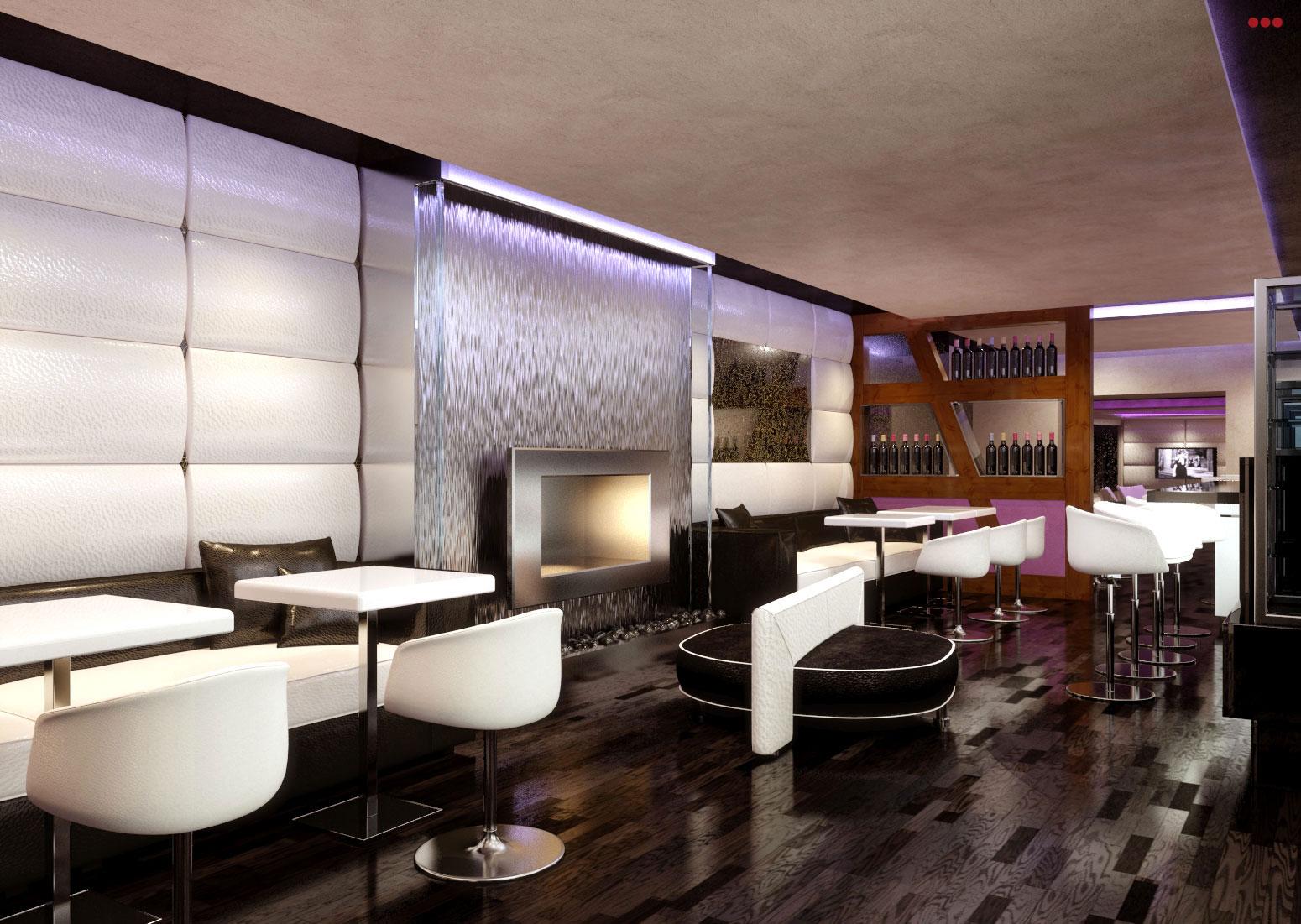 rendering progettazioine grafica 3d negozi bar contract sala camino bar Rimini Pesaro Riccione