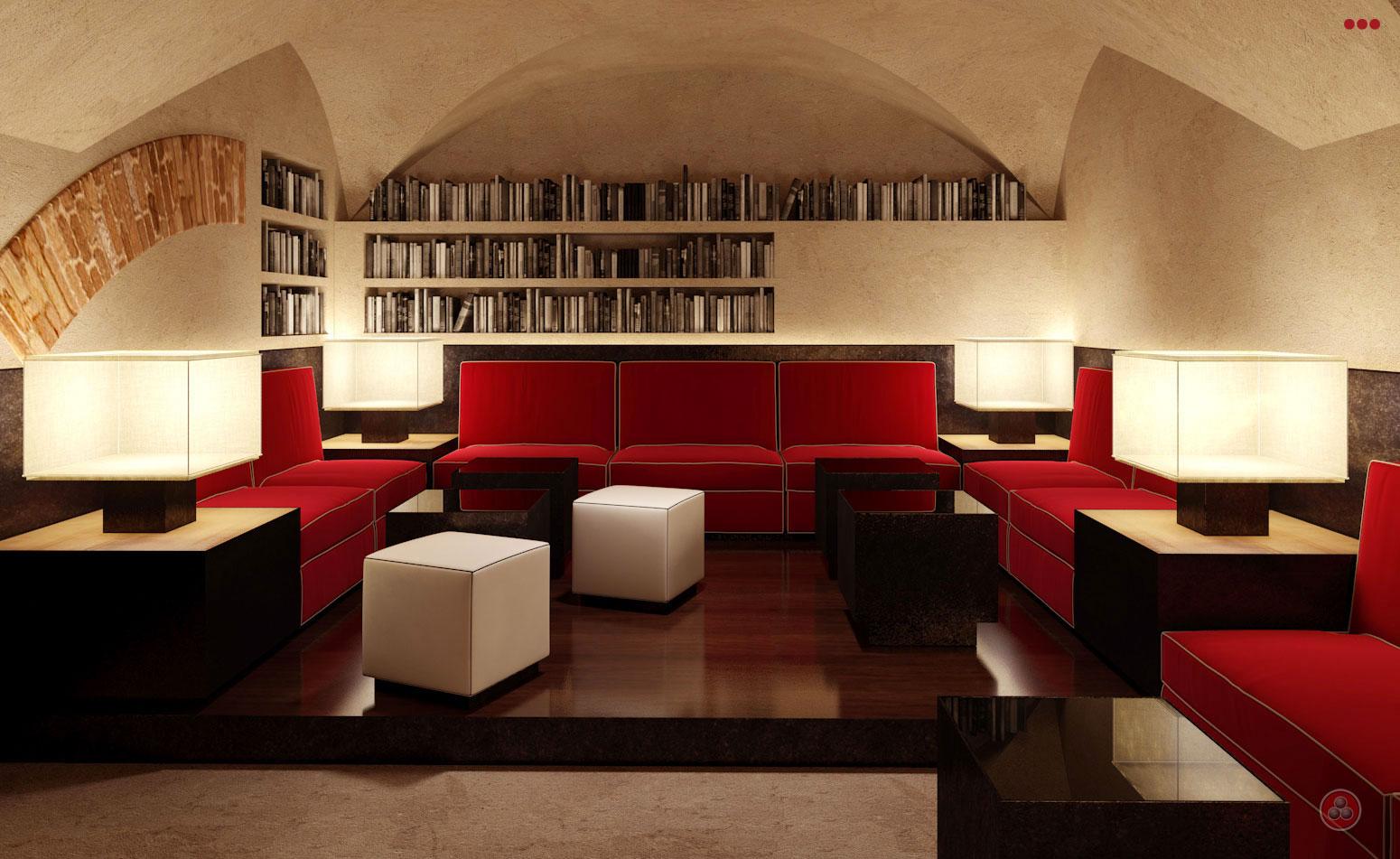 rendering progettazioine grafica 3d negozi bar contract sala rossa Rimini Pesaro Riccione